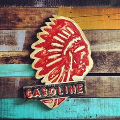 Gasoline Hand Painted Sign // Mr. MacDonald's hand painted signs on Etsy