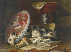 Kittens at play by Henriette Ronner-Knip