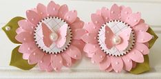 Shabby Pink Polkadot Handmade spring Butterfly Paper Flower Embellishments set of 2 Candy Cards, Rosettes, Paper Flowers, Embellishments, Projects To Try, Polka Dots, Shabby, Greeting Cards, Butterfly