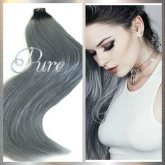 """1b/Grey Natural Black / Gunmetal Grey- Short Root Fade Balayage / Ombre 22"""" Tape  www.tapehairextensions.net.au  #blackrootgreyombre #blackroottogreybalayage  #greyombre #greyhairextensions #hairextensionsafterpay #hairextensionsafterpay    #hair #greyhairextensions #tapehairextensionsgoldcoast #buyhair #whitebblondehairextensions #besttapeinhairextensions #buyhairextensions #hairextensionssupplieraustralia #silverbblondehairextensions #tapehairextensionsbrisbane Silver Blonde, Icy Blonde, Balayage Ombre, Best Ombre Hair, Fresh Hair, Tape In Hair Extensions, Luxury Hair, Bleached Hair, Remy Human Hair"""