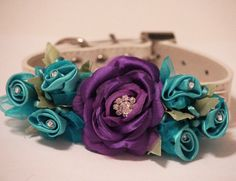Purple Wedding Idea, Purple Floral Dog Collar, Purple Blue Floral Collar by LADogStore, $42.99
