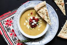 This zucchini soup with feta and roasted red peppers and served with garlic and rosemary focaccia is an easy and quick treat for a midweek dinner. Rosemary Focaccia, Zucchini Soup, Roasted Red Peppers, Stuffed Sweet Peppers, Taste Buds, Feta, Soups, Berries, Spices
