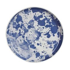 Stoneware plate with watercolour design in blue (PLTLRGWBL).  With natural tint, clear glaze, underside is unglazed.  Dimensions: 28cm in diameter  Care Instructions: Dishwasher and microwave safe.