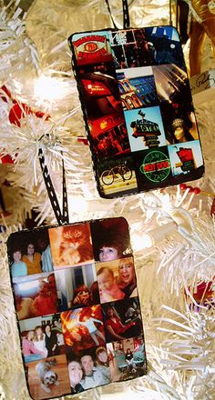 Photo collage ornaments -- it'd be fun to do one of these every year