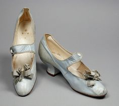 Pair of Womans Bar Shoes Made Of Kid Leather, Leather, Satin And Linen - American   c.1891