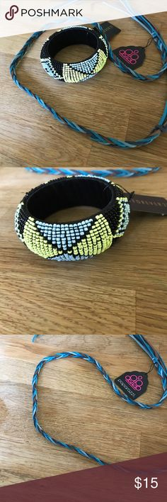 Boho headband and bracelet combo NWT! Both of these items are new and have tags on them. Headband can be worn tied around head. The bracelet is beaded in light blue, black and citron green. Def perfect for the boho beach days. Jewelry Bracelets