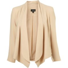 Crop Waterfall Jacket ($120) ❤ liked on Polyvore featuring outerwear, jackets, blazers, tops, coats, women, nude blazers, beige cropped jacket, cropped blazer jacket and waterfall blazers