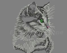 Cat Embroidery design, outline  machine embroidery designs, Silhouette of cat Nice grey, Cat embroidery pattern. 4 sizes Hoop 5x7 6x10 7x12.