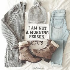 ↠{@AlinaTomasevic}↞ :Pinterest <3 | ☽☼☾ love life ☽☼☾ | Comfy, Cozy and chic outfit-Beanie,Cardis,Oversized sweatshirt,Light wash jean, glasses, Combat boot