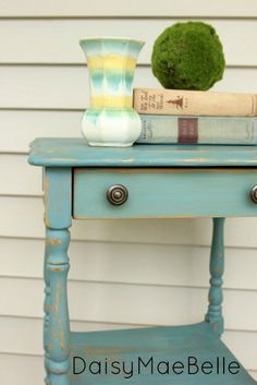 Miss Mustard Seed Kitchen Scale Milk Paint, end table #blue #endtable