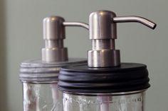 Mason Jar Soap Dispenser: Pint jar, black lid, metal soap pump