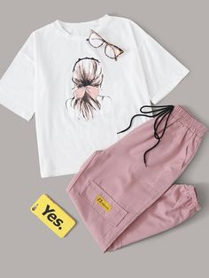 Figure Graphic Tee With Drawstring Pocket Detail Cargo Trousers Girls Fashion Clothes, Teen Fashion Outfits, Trendy Fashion, Cute Girl Outfits, Cute Casual Outfits, Stylish Outfits, Stylish Dresses For Girls, Stylish Dress Designs, Ideias Fashion