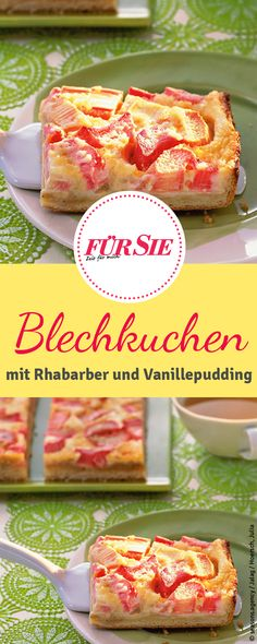 Rhabarber-Blechkuchen mit Vanillepudding Juicy rhubarb cake from the tin with vanilla pudding. You will find the recipe for this! Rhubarb cake with vanillaRhubarb Cake Pie Recipe oRhubarb meringue pie / -K No Bake Desserts, Dessert Recipes, Summer Desserts, Rhubarb Cake, Le Diner, Bread Baking, Cookie Recipes, Food And Drink, Cooking