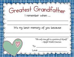 Give you grandparents a certificate for Grandparents Day - everyone loves to be recognized.
