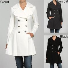 Jessica Simpson Women's Double Breasted Flare Coat I have it in black and it's awesome