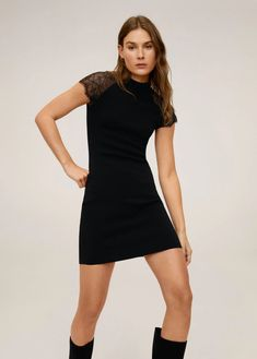 Discover the latest trends in Mango fashion, footwear and accessories. Shop the best outfits for this season at our online store. Mango Fashion, High Collar, Latest Fashion Trends, Fashion Online, Cool Outfits, Short Dresses, High Neck Dress, Style, Shoulder Dress