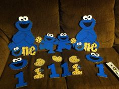 Cookie Monster decorations I made from cardboard for my grandson Bentleys birthday party