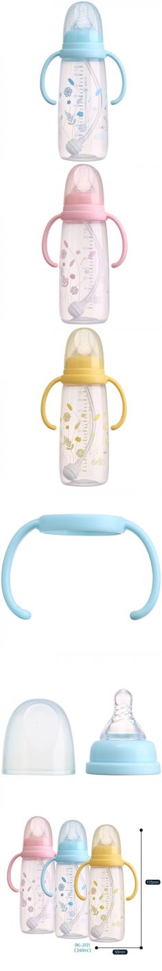 Baby Feeding Cup With A Straw Food Small Plastic Baby Bottles 260Ml Fast Flow P.P. Bpa Free Standard Single Loaded Floral