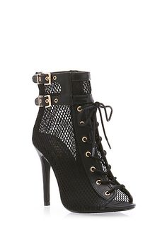 Mesh Lace-Up Booties, Rainbow