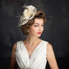 Ladies' Classic Feather/Net Yarn/Tulle/Linen With Feather Fascinators/Kentucky Derby Hats/Tea Party Hats Wedding Hats, Wedding Party Dresses, Bridal Dresses, Tulle, Tea Party Hats, Kentucky Derby Hats, Fancy Hats, Event Dresses, Occasion Dresses