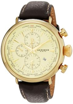 Gold watches for men : Akribos XXIV Men's AK629YG Explorer World Time Alarm Gold-Tone Stainless Steel Cream Dial Brown Leather Strap Watch