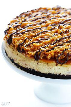 Gimme Some Oven | Samoa Cheesecake | http://www.gimmesomeoven.com