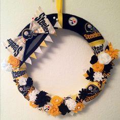 Steelers yarn wreath