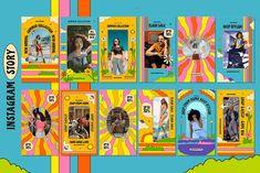 Groovy Instagram Pack | Creative Instagram Templates ~ Creative Market Social Media Template, Social Media Design, Layout Design, Logo Design, Collages, Graphic Design Posters, Shops, Art Direction, Instagram Story