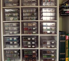 bead storage - here's when labels are a really good thing! Bead Organization, Bead Storage, Art Storage, Workshop Organization, Craft Room Storage, Jewellery Storage, Storage Ideas, Craft Rooms, Organizing Ideas