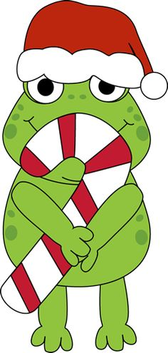 Christmas Frog with Candy Cane Clip Art