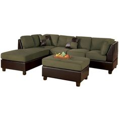 Perfect Poundex Bobkona Hungtinton Microfiber/Faux Leather 3 Piece Sectional  ($1,010) ❤ Liked