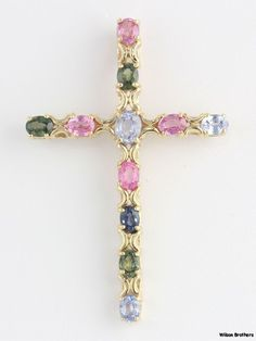 3.25ctw Genuine Pink, Green, & Blue Sapphire Cross Pendant - 14k Yellow Gold A++ #Pendant