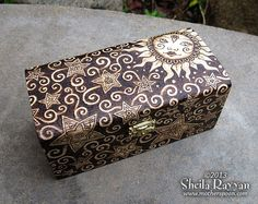 Sun & Stars Wood Trinket Box  pyrography by MotherSpoon on Etsy, $150.00