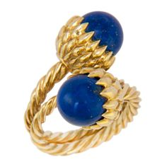 TIFFANY SCHLUMBERGER Gold and Lapis Acorn Ring