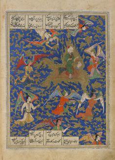 Arts of the Islamic World | Folio from a <i>Khamsa</i> (Quintet) by Nizami (d.1209); verso: The prophet's journey over night (Mi'raj); recto: text, invocation to the Prophet Muhammad | F1908.278