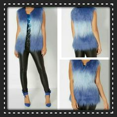 "⭕✴ BLUE SHAG OMBRE FAUX FUR VEST⭕✴ MAKE A BOLD STATEMENT  IN THIS ADORABLE BRILLIANT  OMBRE BLUE  FAUX FUR SHAG VEST. LOVE THESE  COLORS,  SO CUTE WITH BLACK LIQUID  LEGGINGS & A PAIR  OF KNEE HIGH BOOTS. CAN BE WORN  MOST SEASONS.  ADORBS. . HOOK & EYE METAL  CLOSURE,  FULLY LINED. 60% ACRYLIC  40% POLY, THE LINING IS 100% POLY. DEF CHIC & WILL KEEP  YOU WARM , SUCH A FUN PIECE  ❤ ( MEASUREMENTS  LENGTH  TOP TO BOTTOM  IS 28"" BUST AREA  17"" ( L9 ) BOTIQUE  Jackets & Coats Vests"