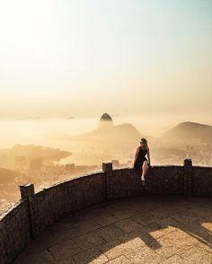 View of Sugarloaf Mountain (Pão de Açúcar) from Christ the Redeemer (Cristo Redentor) in Rio de Janeiro, Brazil