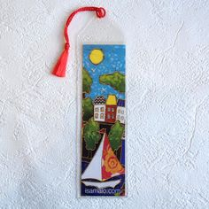 Signet • Voilier - reproductions des toiles d'isabelle Malo Isabelle, Reproduction, Bookmarks, Painting On Tiles, Book Markers, Sailboats, Leaves, Paper Mill, Projects