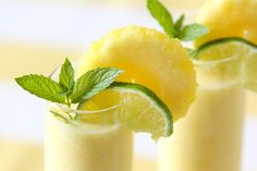 Pineapple Coolers Ingredients  4 cups pineapple chunks, chilled 1 1/2 cups ice 1/4 cup lime juice 1/4 cup coconut milk 1/3 cup rum Instructions  Blend all ingredients together until smooth. Garnish with a pineapple round, lime wedge, and sprig of mint! For a sweeter drink, add in simple syrup!  Frozen Pineapple Cooler Recipe - SO refreshing!