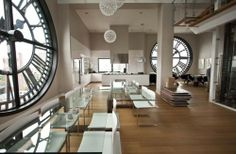 Anne Hathaway and beau's new digs in the One Main Building Clock Tower Penthouse in NYC. Just the huge clock windows alone are to die for! Decor in itself