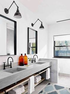 Concrete Countertop concrete countertops white and concrete bathroom - Give your bathroom countertops a stylish update! Here are 14 reasons to use concrete counters in your bathroom. For more design trends, head to Domino. Concrete Bathroom, Bathroom Countertops, Concrete Bench, Modern Countertops, Vanity Countertop, Wooden Bathroom, White Concrete Countertops, Concrete Ceiling, Dark Counters