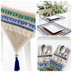 Image interface for runner masa örtüsü - Home Decor Ramadan Crafts, Ramadan Decorations, Sewing Crafts, Sewing Projects, Burlap Table Runners, Boho Kitchen, Burlap Lace, Home Textile, Diy And Crafts
