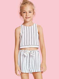 Girls Slit Knot Back Stripe Shell Top & Shorts Set -SHEIN(SHEINSIDE) Kids Outfits Girls, Cute Girl Outfits, Girls Fashion Clothes, Tween Fashion, Little Girl Fashion, Cute Summer Outfits, Baby Girl Dresses, Fall Outfits, Fashion Outfits