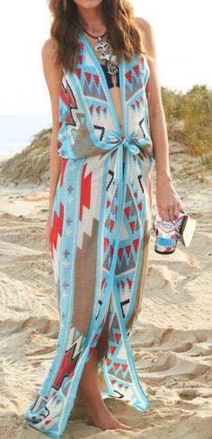 Tribal beach coverup made from one scarf by Theodora & Callum.