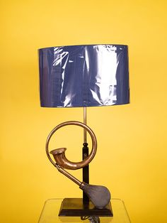 CONVERTED CAR HORN TABLE LAMP WITH SILK SHADE