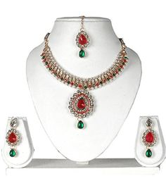 Ddivaa Attractive Look Indian Bollywood Gold Plated Red and Green Stone Party Wear Necklace Set ** Be sure to check out this awesome product.-It is an affiliate link to Amazon.