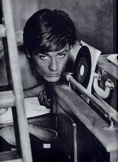 Alain Delon b/w shirtless portrait with vinyl records 60's clipping (minkshmink)