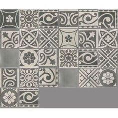 Carreau de ciment intérieur Patchwork PREMIUM, gris foncé et clair, 20 x 20 cm   Leroy Merlin
