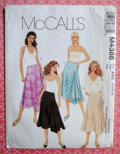 Uncut Misses Handkerchief Hem Faced Waist Side Zipper Bias Flare Lapped Skirt Size 4 6 8 10 Sewing Pattern McCalls M4386