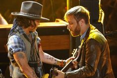 """Johnny Depp playing backup on """"Gold on the Ceiling"""" with the Black Keys, MTV Awards, June 2012"""